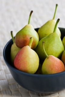 Bowl of small sweet pears
